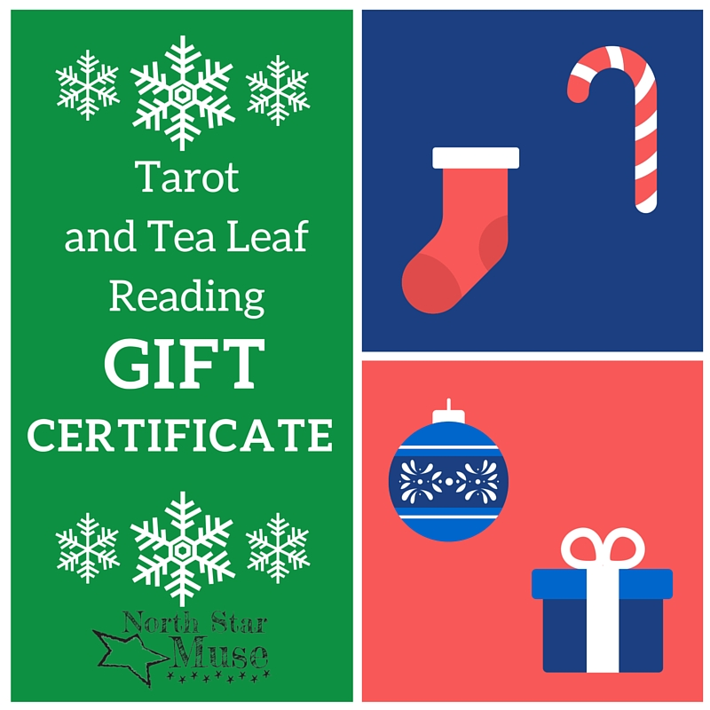 Give 20% cooler gift certificates! Now available:tarot, tea leaf, or both tarot and tea leaf reading gift certificates. Click the picture to get shopping. May your days be merry and bright! Cheers!