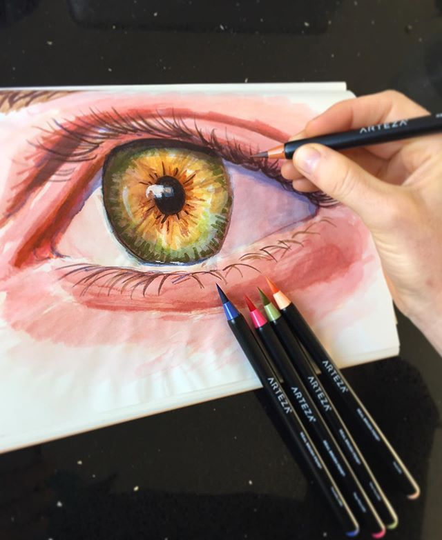Work by one of our 16 year old student! For this realistic eyeball, he used the Real Brush Pens by @artezaofficial and used a little bit of water to dip this pen brushes, so the colors for the skin and for the white part of the eyes became lighter in value and less saturated. So good! 👁👁👁 . . . #arteza  #artezabrushpens #wip #ilovepainting #drawing #eyeball #eyeballsrawing #eyepainting #ilovedrawing #privatelesson #artclass #paintingclass #brooklynart #bayridgeartspace #artclassesforkids #artclassesforadults #artsharing #paintingprocess #paintingprogress #arts_help