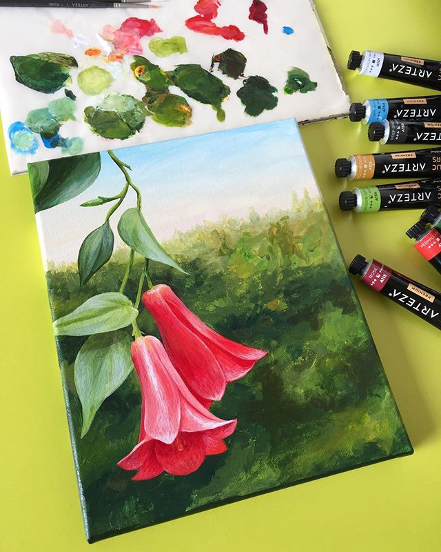 Because is September and we are now in Chile 🇨🇱, we wanted to share a painting of the Chilean national flower. It's called Copihue or Lapageria in English.  Here is the finished painting using only Acrylic Premium by @artezaofficial 🎨 on a 8 x 10 inches canvas that you can also find at Arteza. Check out the acrylic paint set, it has 60 Colors to play around!!! 🌈 . . . #arteza  #wip #ilovepainting #privatelesson #artclass #paintingclass #brooklynart #bayridgeartspace #artclassesforkids #artclassesforadults #artsharing #paintingprocess #paintingprogress #arts_help