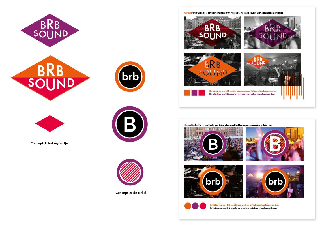 Presentatie van twee concepten, aan de hand van kleuren, vormen, fotografie en beeldmerk.