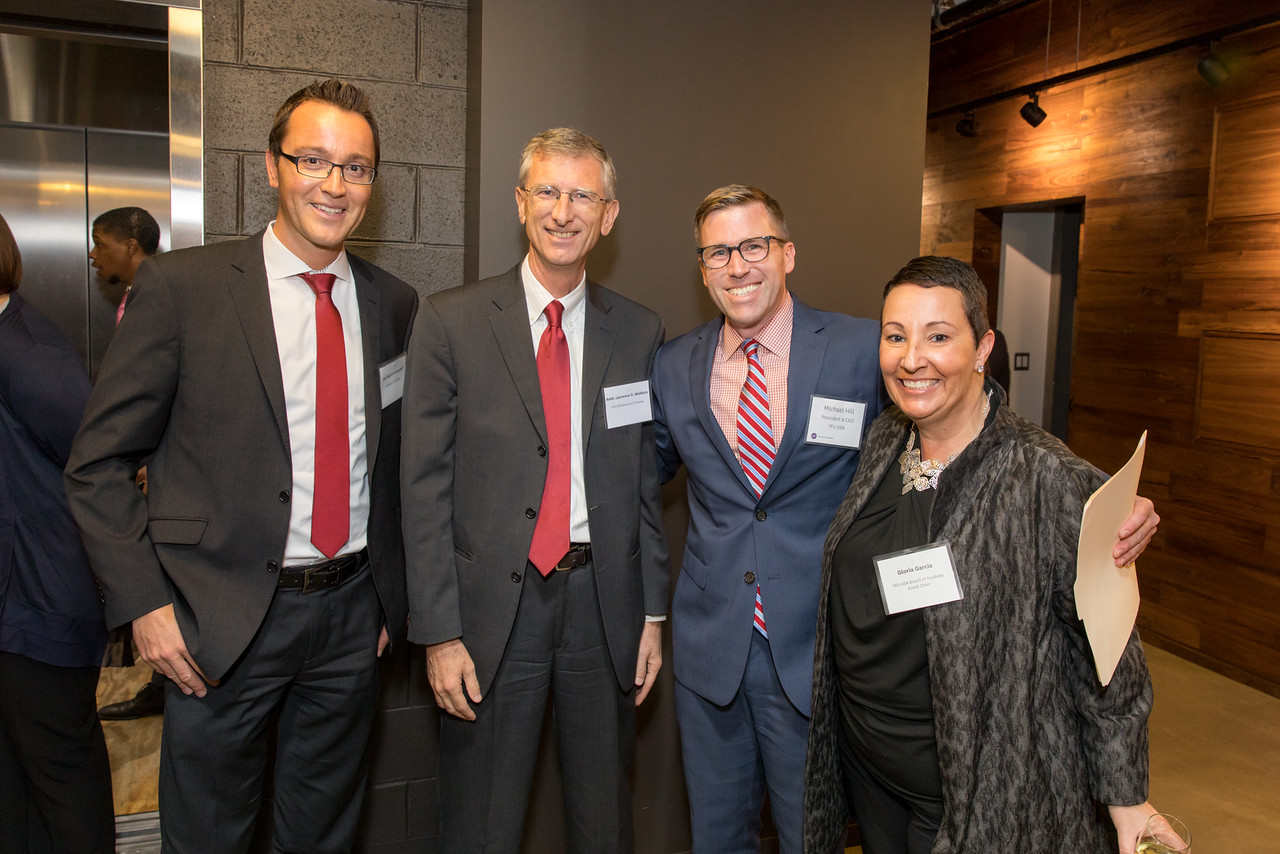 Jan Patrick Eckendorf, Deputy Head of Cultural Section at the Embassy of Germany; Ambassador Laurence Wohlers, YFU USA Board Trustee; Michael E. Hill, YFU USA President & CEO; Gloria Garcia, YFU USA Board Trustee and Celebration Chair