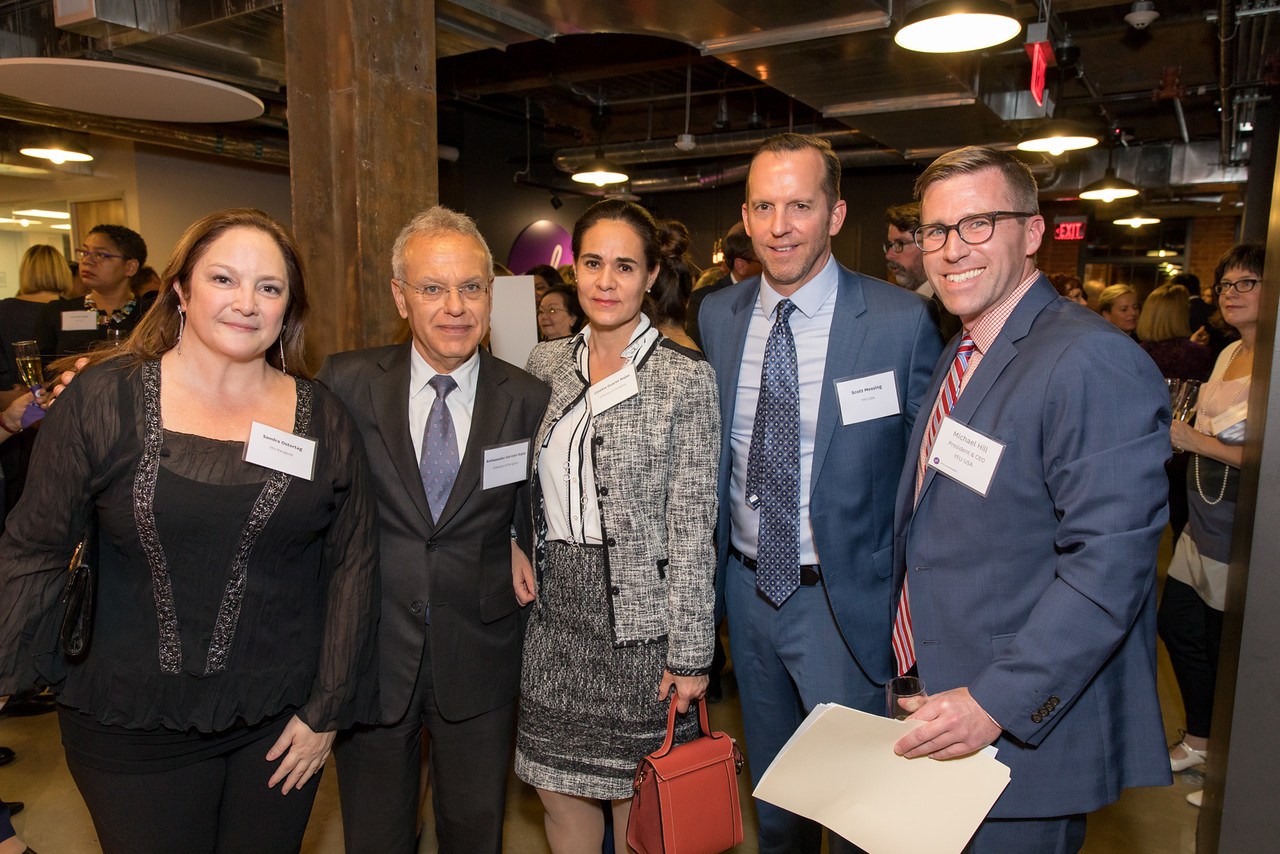 Sandra Ostertag, YFU Paraguay National Director; Ambassador Germán Rojas from the Embassy of Paraguay and wife Cynthia Duarte Rojas; Scott Messing, YFU USA Vice President & Chief Operating Officer; Michael E. Hill, YFU USA President & CEO