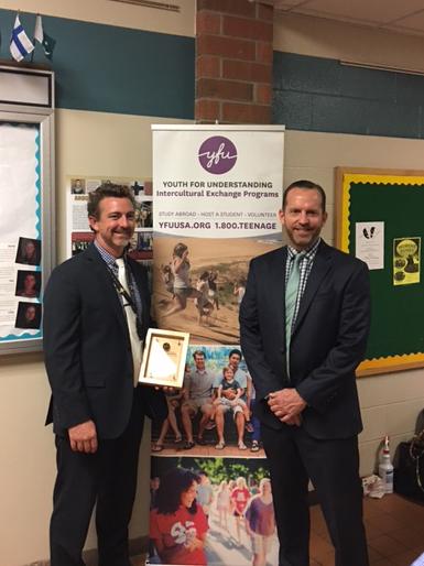 Jason Schrock, Principal Howell High School and Scott Messing, President and CEO YFU USA September 12, 2017