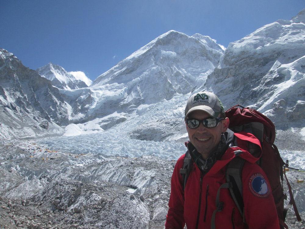 Everest and Everest Base Camp from the Lateral Moraine