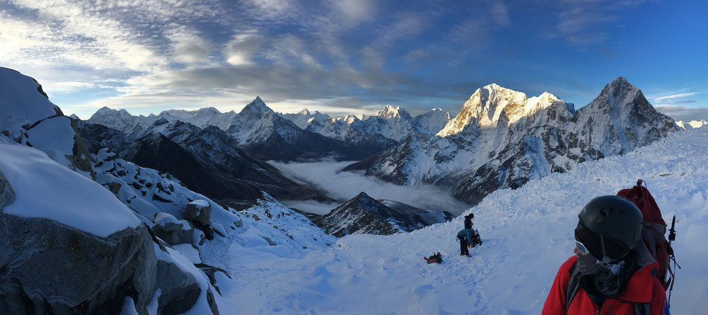 Looking Back at Ama Dablam from the Lobuche Glacier