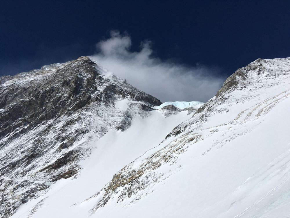 Everest's South Summit and the Geneva Spur, as seen from Camp III