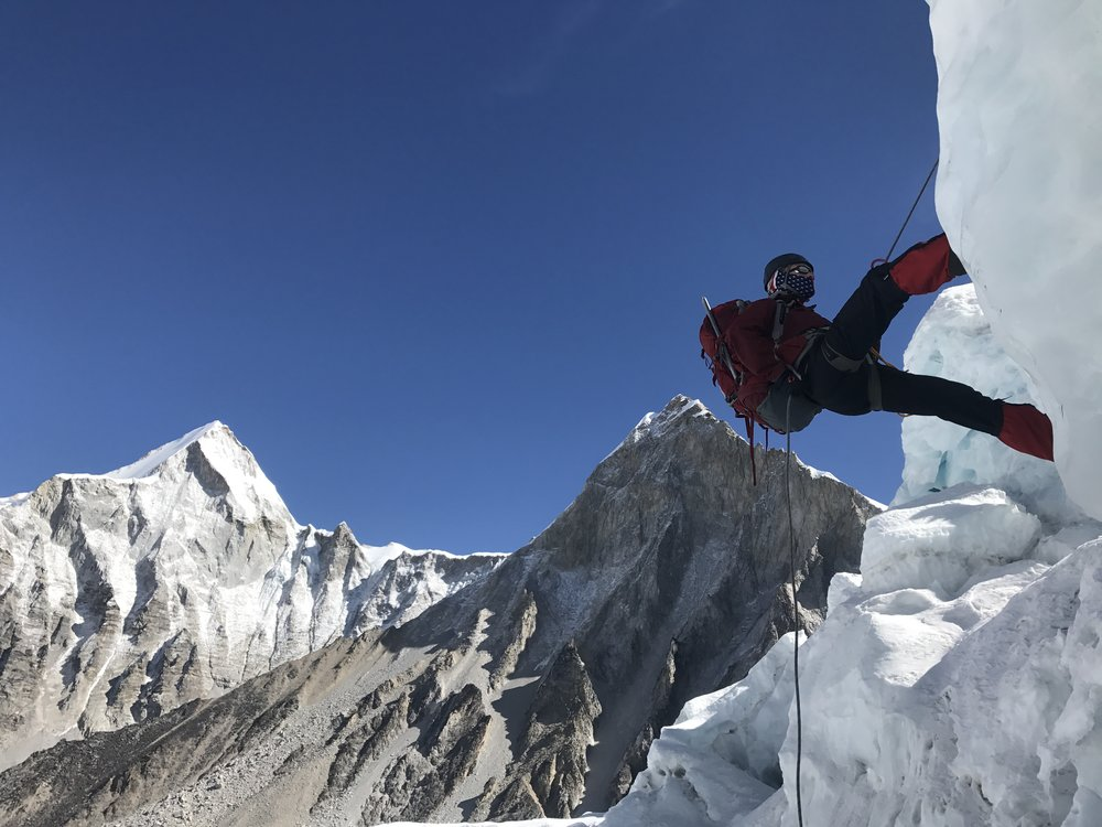 Rapelling down a cliff in the Icefall (photo credit Luke Reilly)