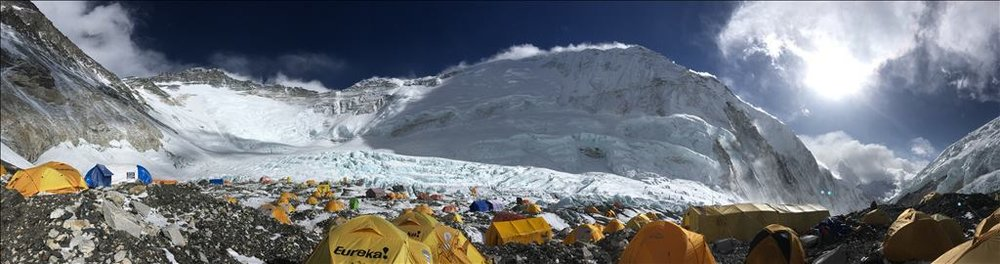Camp 2 panorama showing (L to R) Lhotse, Nuptse, and the Western Cwm descending to Camp 1