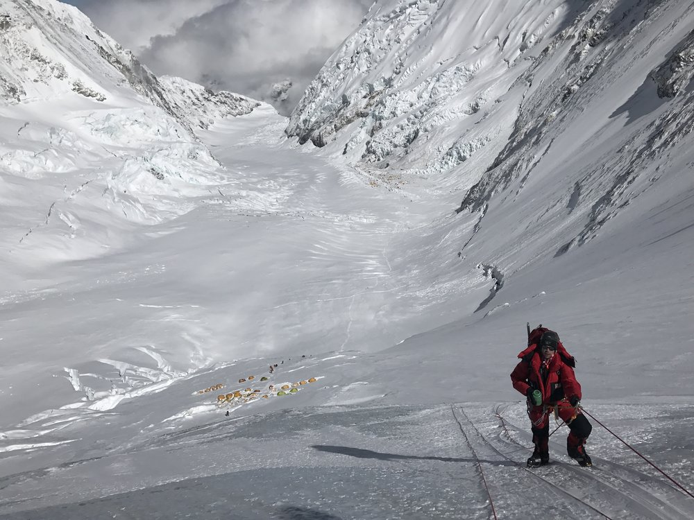 Stopping for water on the Lhotse face