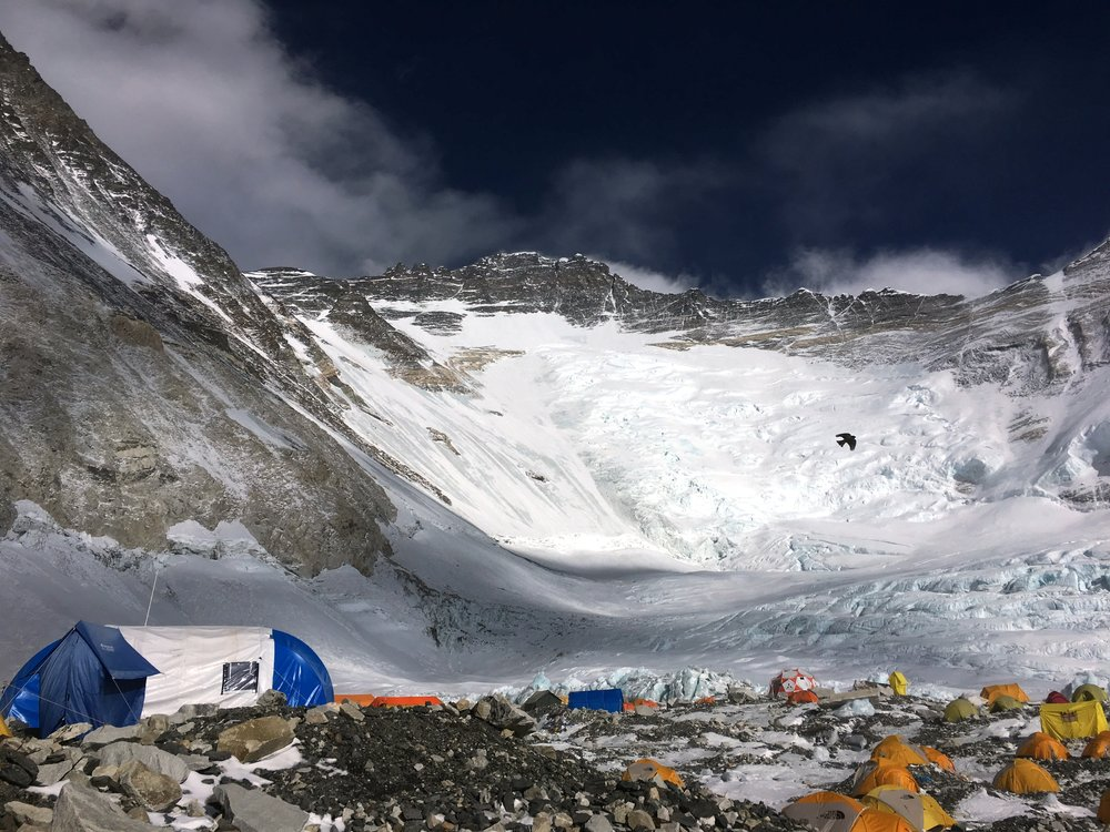 Camp 2, looking up at the Lhotse face with Everest sweeping out of view in the upper left hand corner