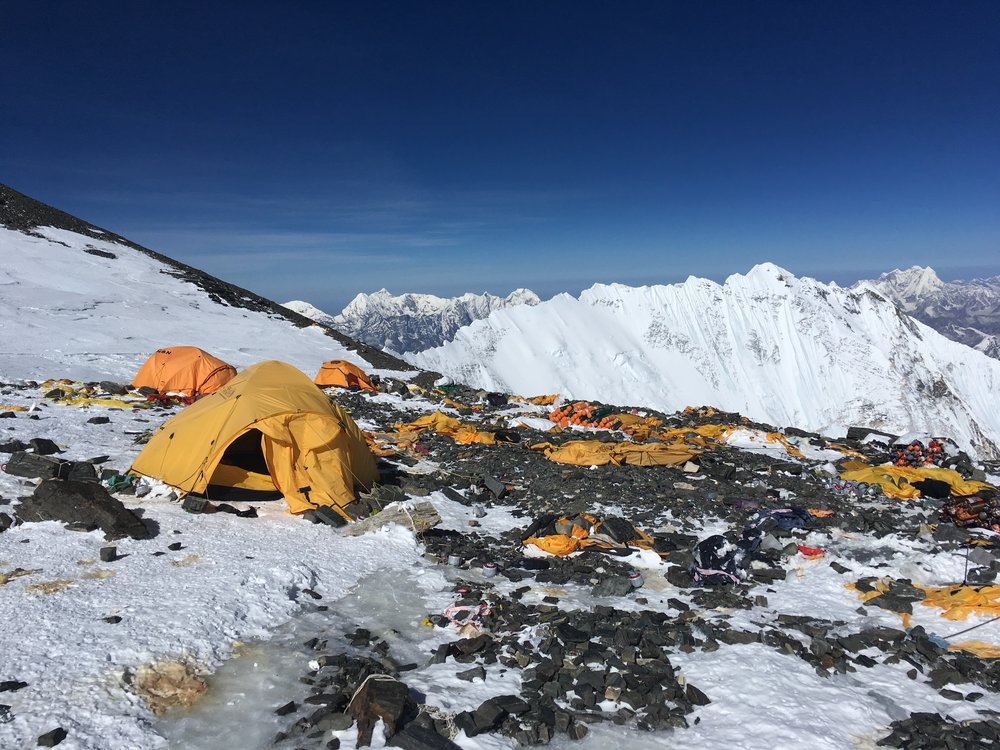 The South Col after a wind storm -- an inhospitable place
