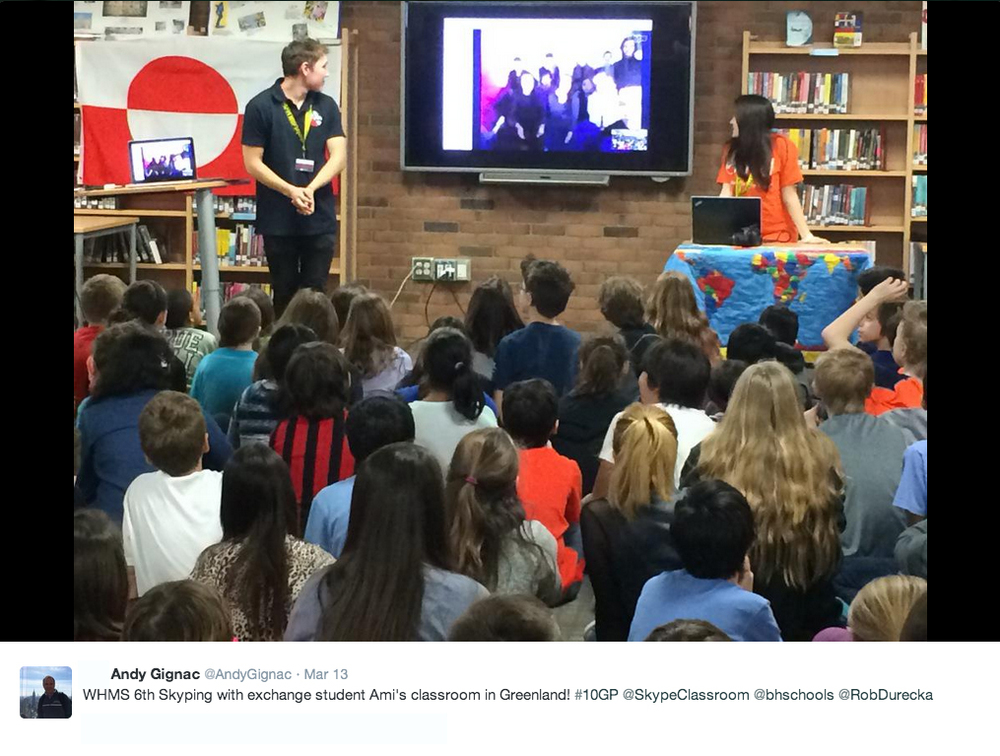 Tweet from Andy Gignac from Skype classroom event.