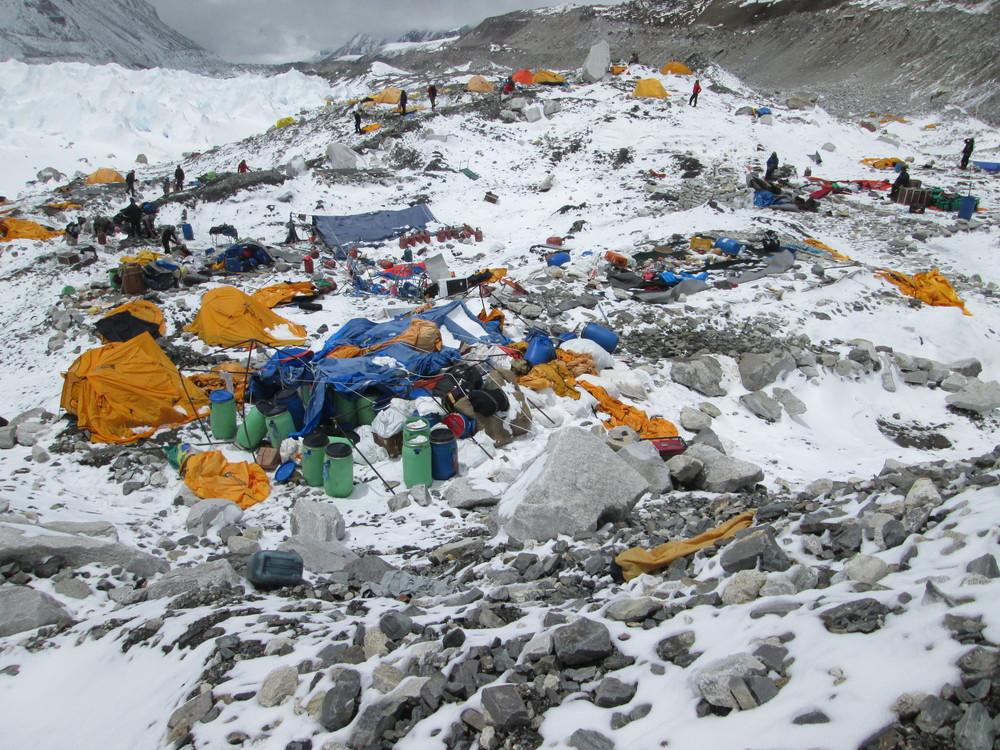Above: destruction in central base camp after avalanche