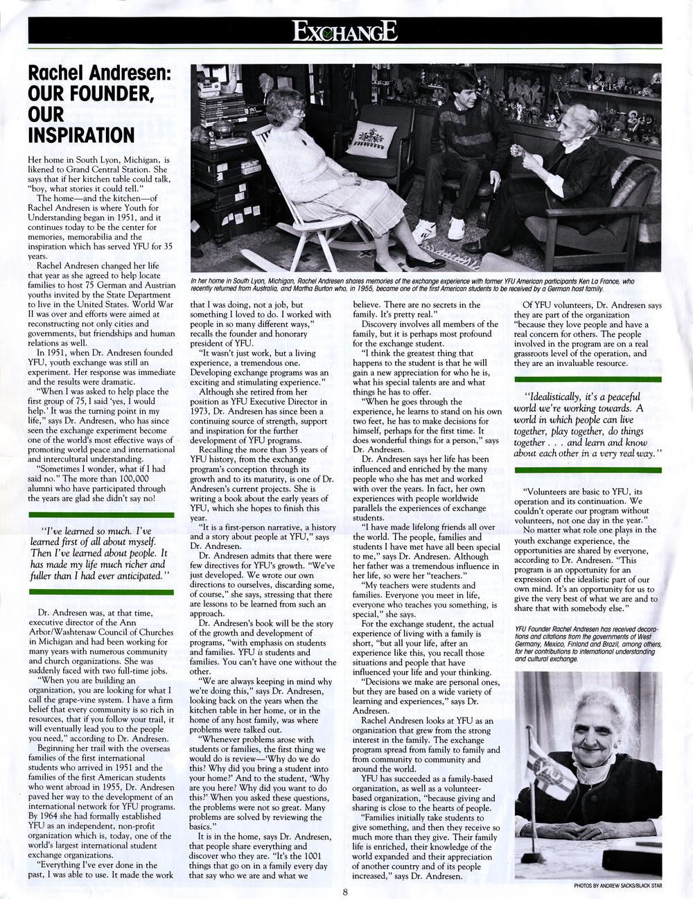 Original 1986 interview with YFU Founder Dr. Rachel Andresen