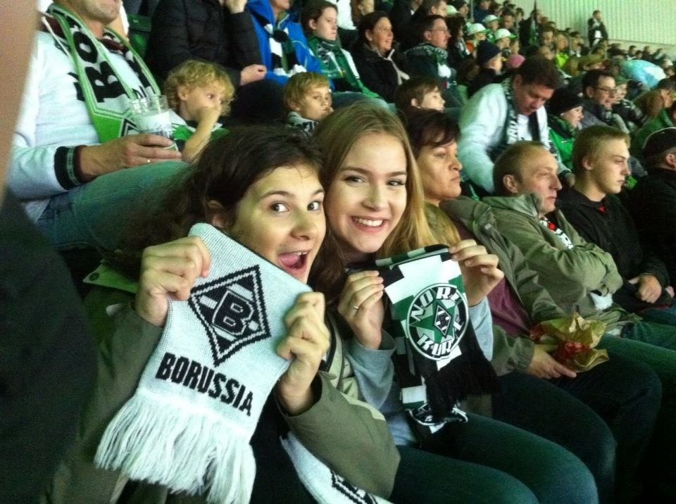 Toooooor! My first soccer game: Monchengladbach against Borussia Dortmund. I quickly learned from my experience at the Fu ßballstadion that w hen it comes to soccer, the Germans go hard or go home.