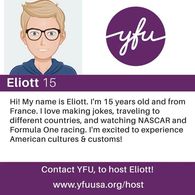 Arriving this month from 🇫🇷 France 🇫🇷 is 15-year-old Elliot! He can't wait to watch #NASCAR and #FormulaOne racing with his #HostFamily 🏎🏁 Learn more and Apply to #Host at the link in our bio! #HostForUnderstanding