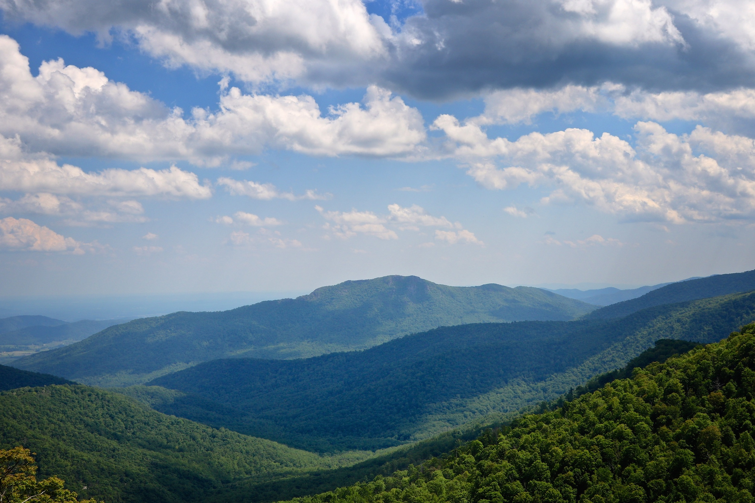 A whole mountain view of Old Rag, from Skyline Drive in Shenandoah National Park.