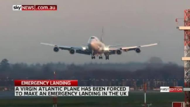 Virgin Atlantic Flight VS43, a Boeing 747-400, makes an emergency landing at Gatwick in December of 2014, without it's starboard main landing gear (outboard) after circling for hours burning off fuel.