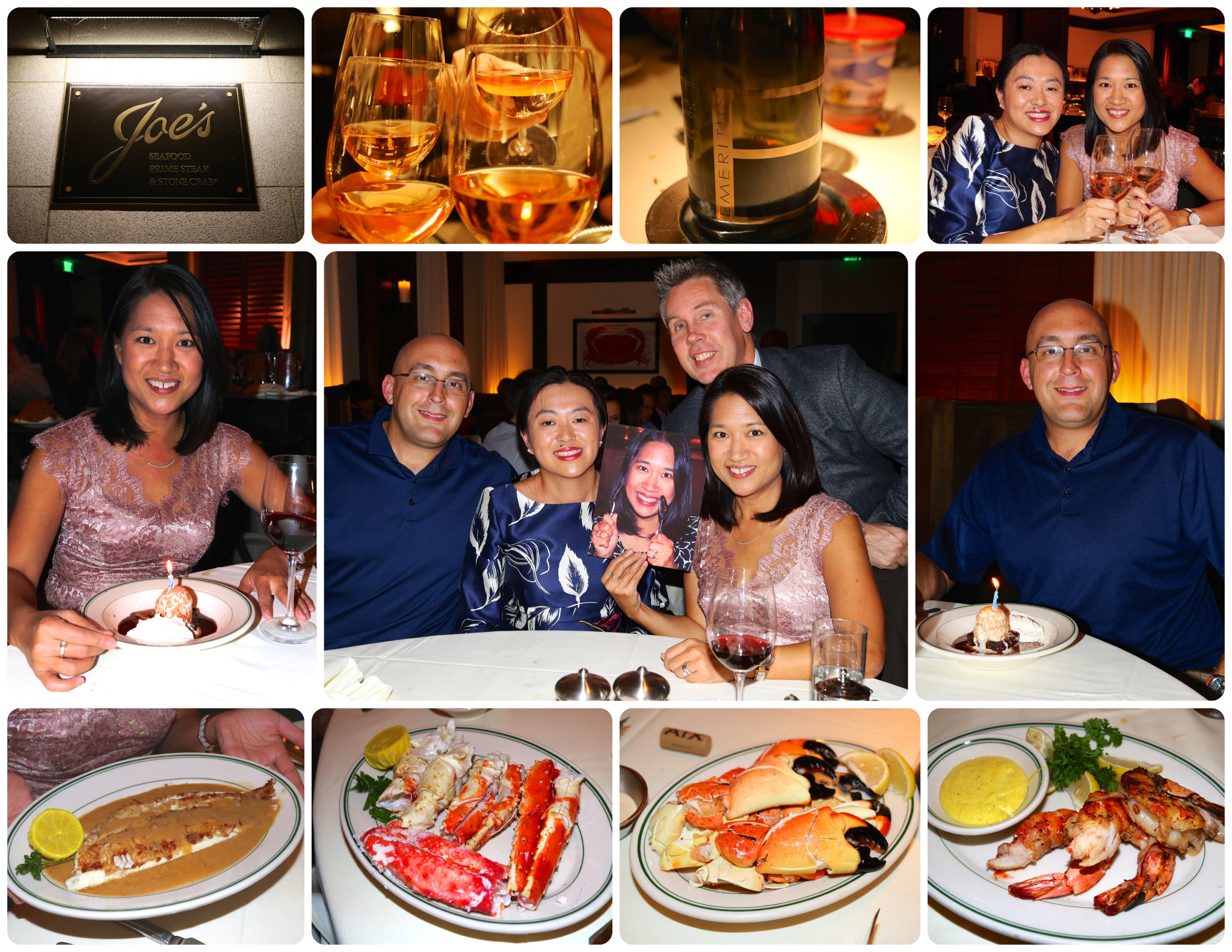 Pake's and Way's, Joe's Seafood, Prime Steak & Stone Crab in Washington, D.C. in October 2015. And we're holding up a photo of Nat's twin sister, Norma, who lives in Thailand, so that she could celebrate with us too! :)