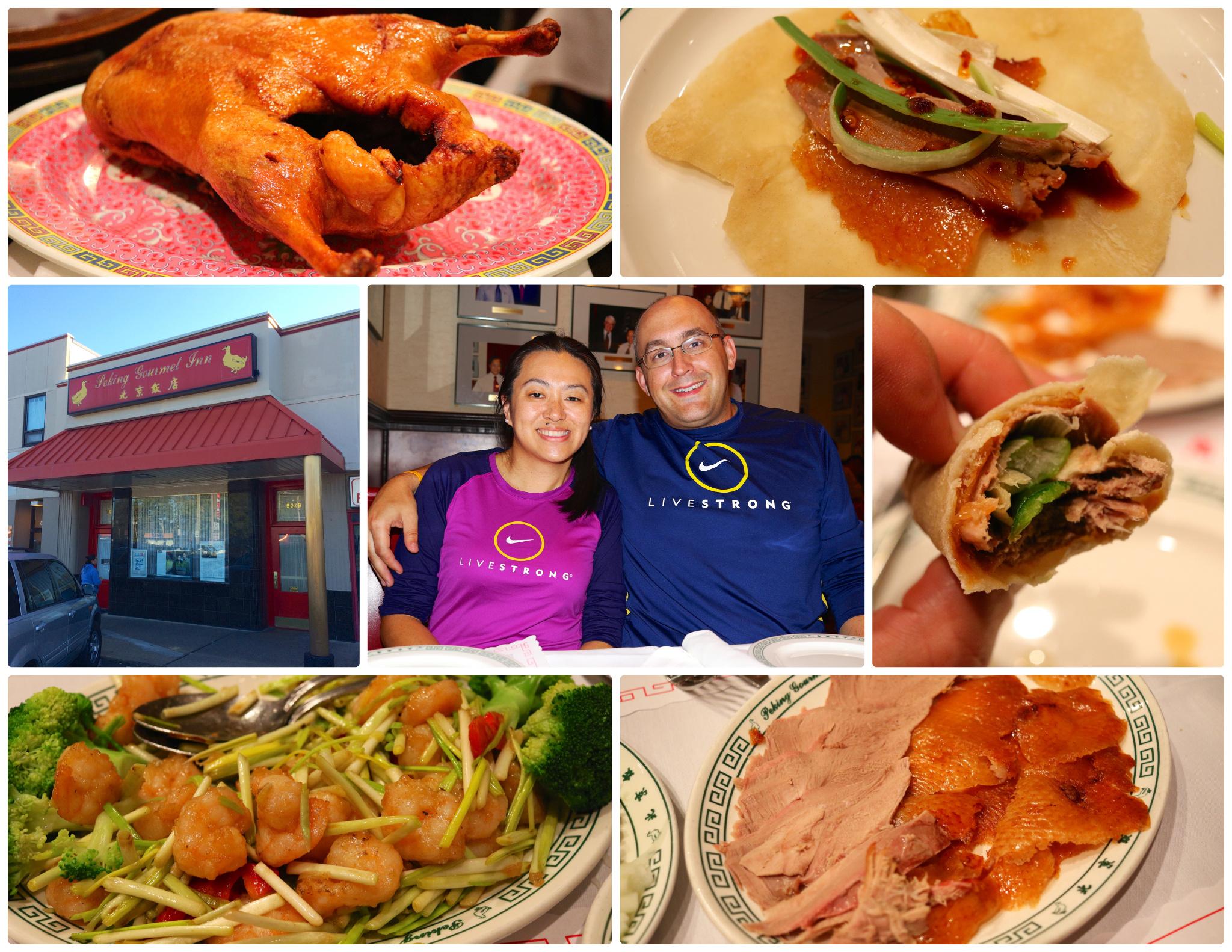 Crashing the Peking Gourmet Inn in our hiking garb!