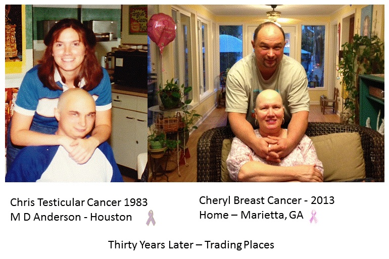 Chris Horacek, a 32 year survivor of advanced stage testicular cancer diagnosed in 1983, and his wife Cheryl 30 years later with breast cancer.