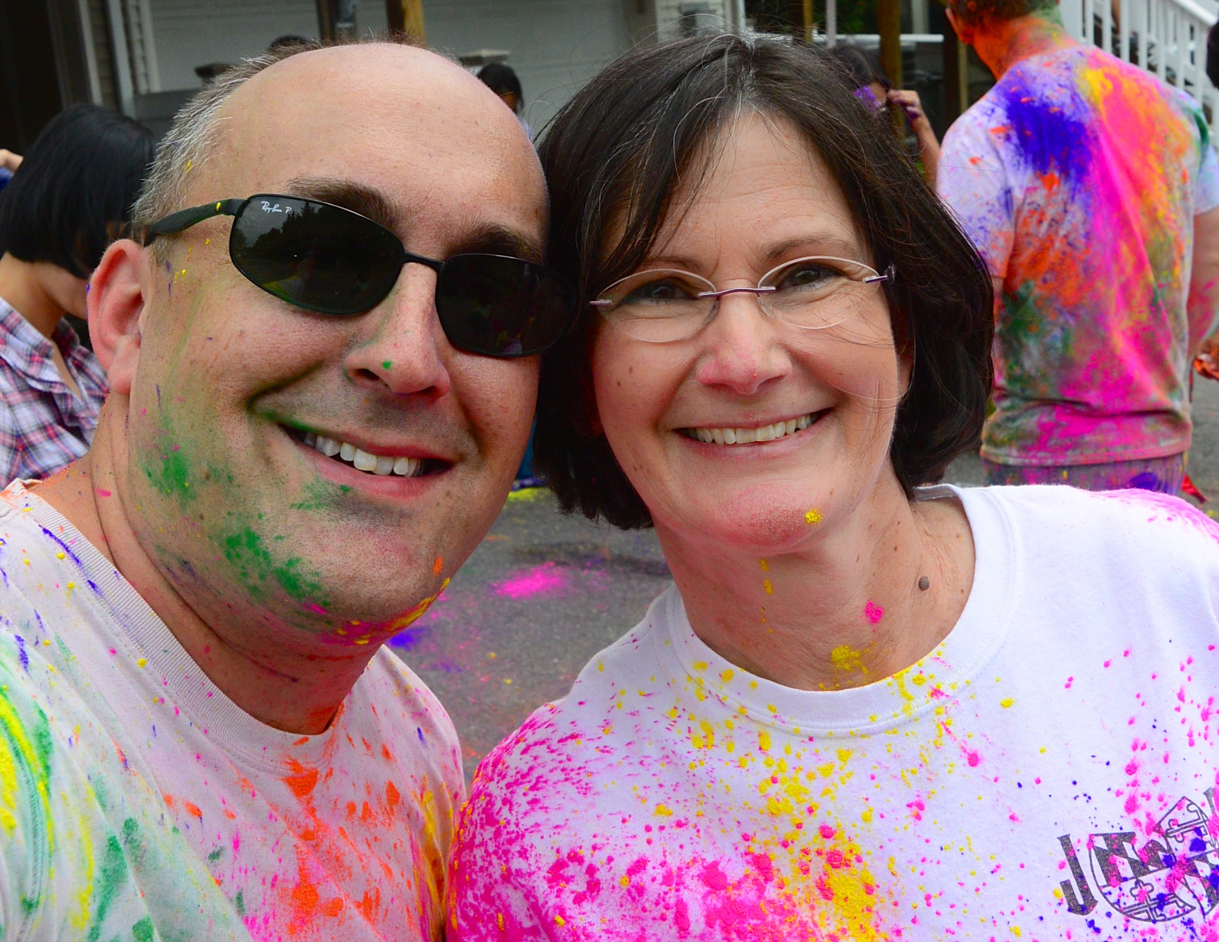 Trish Traylor and I at our annual summer kickoff color party. Oncology nurses are the most amazing human beings ever!