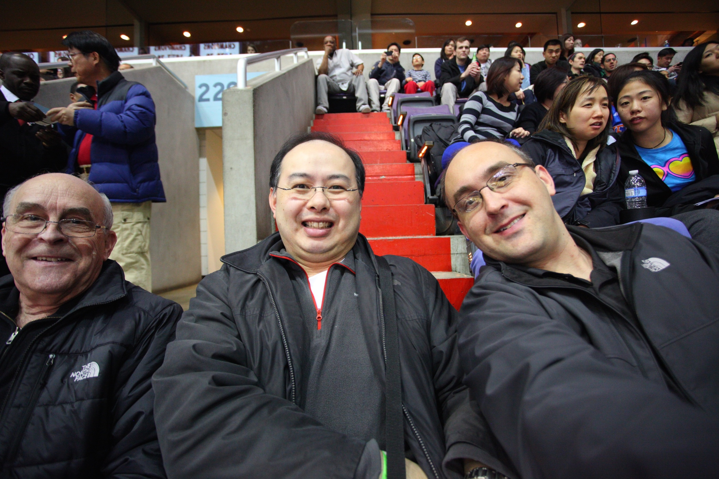 "At a basketball game with my dad (left), and my longtime friend Richard (center), February 2013, just a matter of weeks after ""ground zero."""