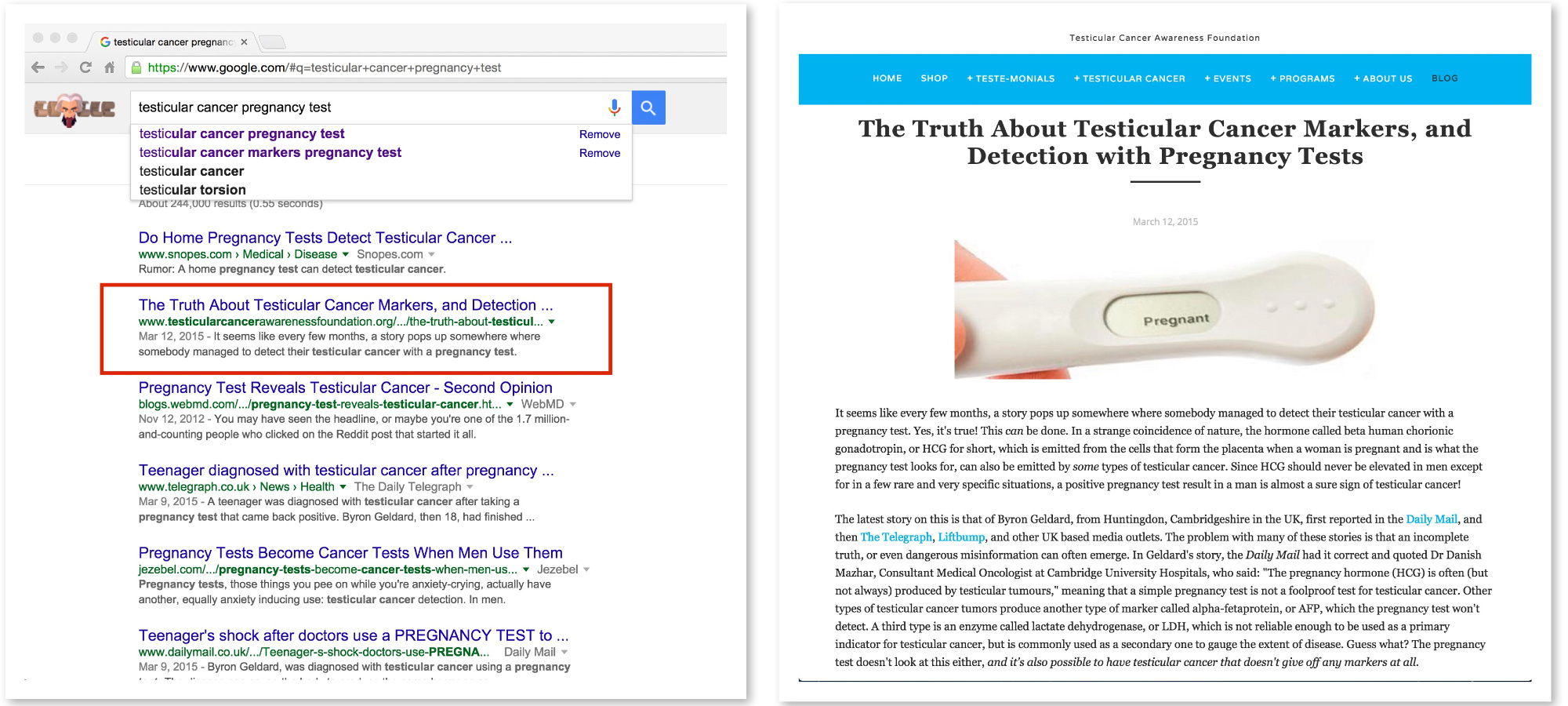 """Do a Google search for """"testicular cancer pregnancy test"""" and guess what you'll find? One of mine!"""