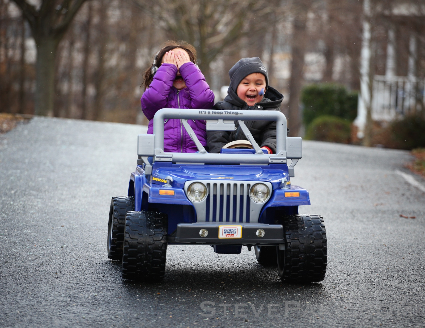 """The """"WillKat Classic"""". Canon 5D Mark II and 70-200mm f/4L lens. This was the first time William took Katie down a steep driveway in his Jeep. He was excited, she was terrified, and this photo is truly priceless! These expressions came and went in a moment. Timing is everything."""