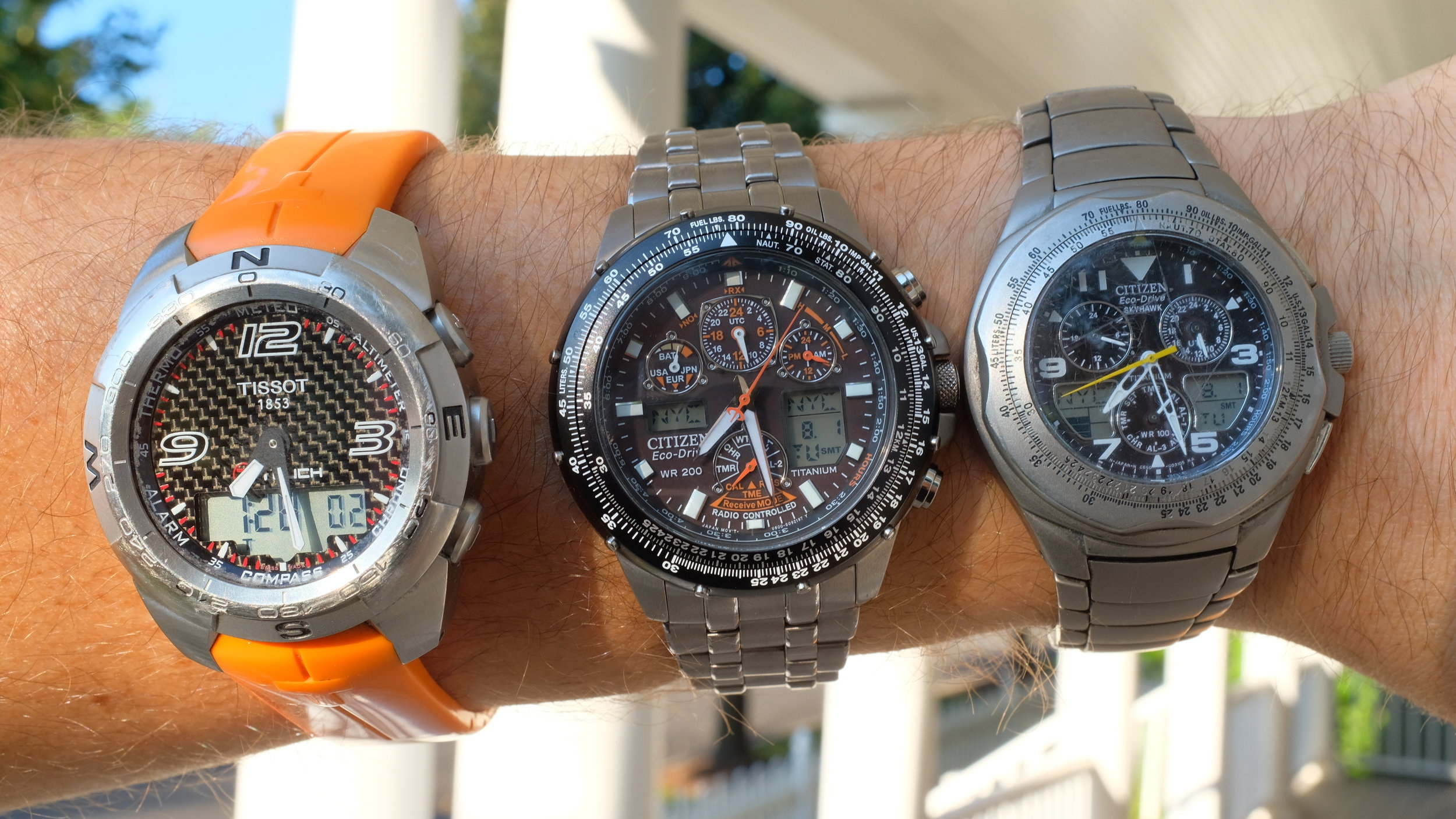 My Tissot T-Touch Expert purchased 2009 (left), my new Citizen Skyhawk Titanium purchased 2017 (center), and my older Citizen Skyhawk Titanium purchased 2004 (right).