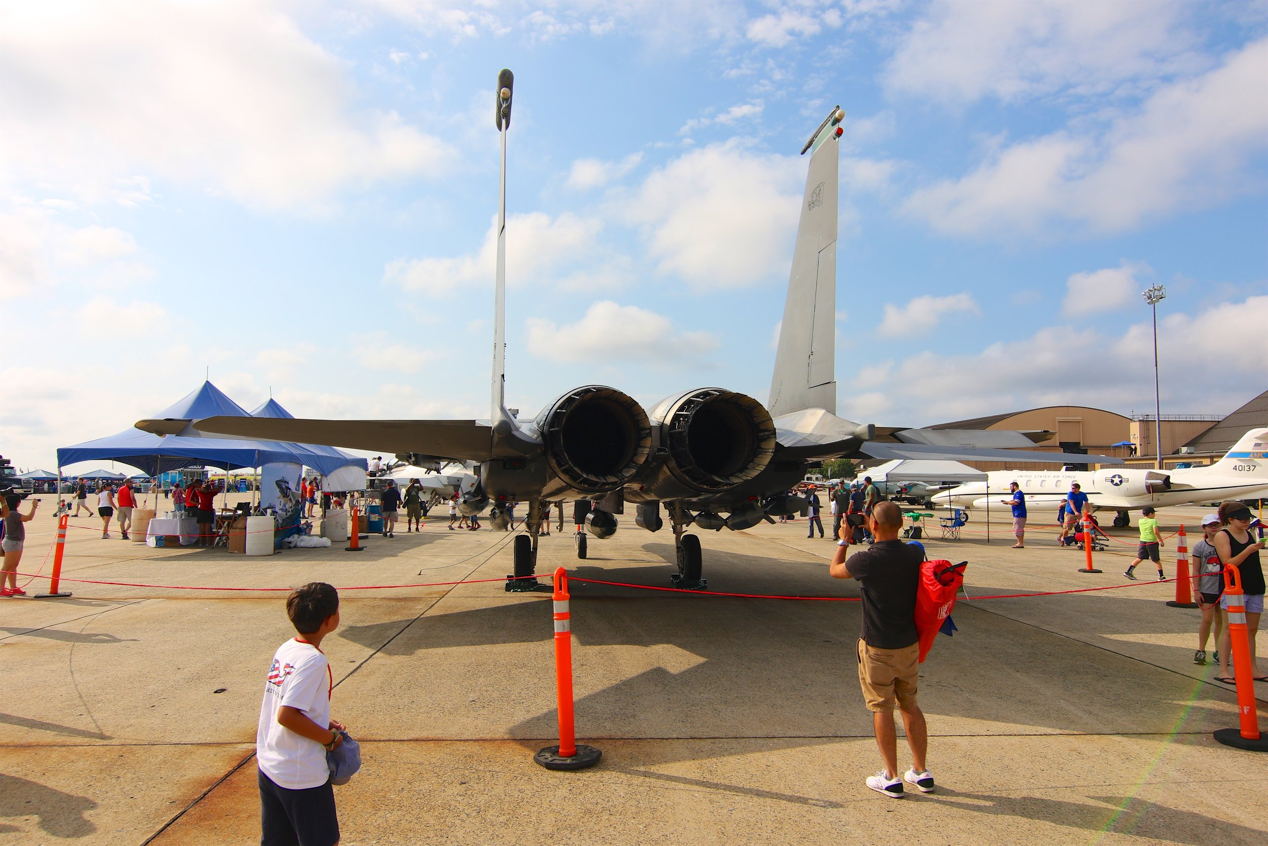I finally got to check out the F-15E Strike Eagle. I'd actually never seen one of these in person either. It was hidden in the back at the 2015 show, and by the time I saw it we were already at the other end of the tarmac and on our way out.