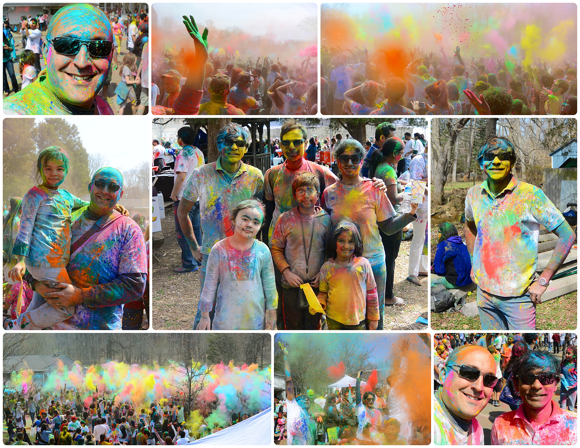 My first Holi in 2014 with my daughter, and my long time friend Amit, and my friends Raghu and Anitha and their kids, to show us how it's done.