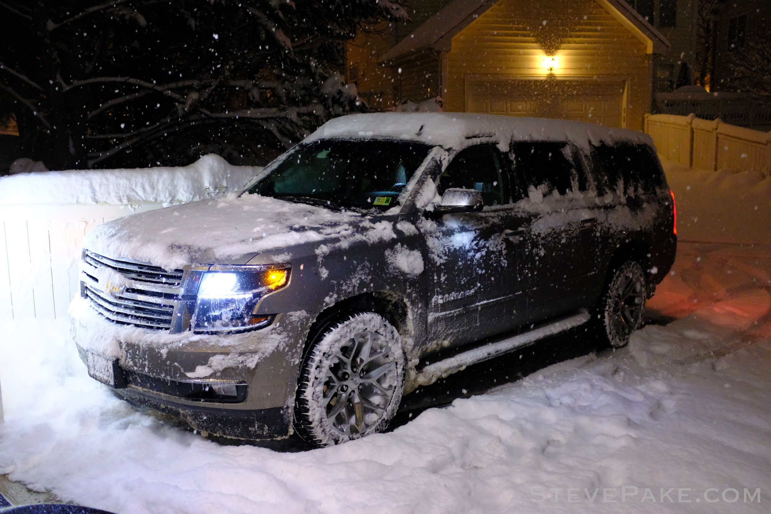 The Suburban is, of course, a beast in the snow even with all-season tires. The truck-based no nonsense 4WD system has locking differentials and just goes. With winter tires and a leveling kit and/or pulling off the front lip spoiler, it would basically be unstoppable in the snow, but we don't have winter weather severe or long enough to warrant that here in the D.C. area.
