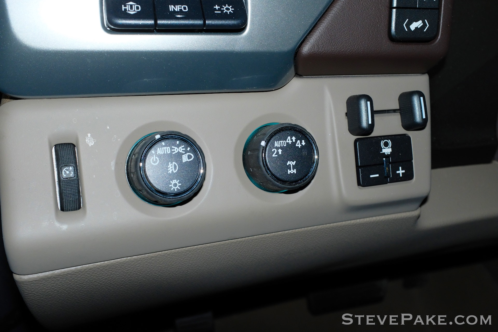 The easiest way to tell if a 2015-2019 Suburban or Tahoe has the 3.42 gearing is to look for the optional Max Trailering Package equipment, which includes the trailer brake controller and an option for 4 LO on the transfer case control, to the left of the steering wheel and next to the light switch.