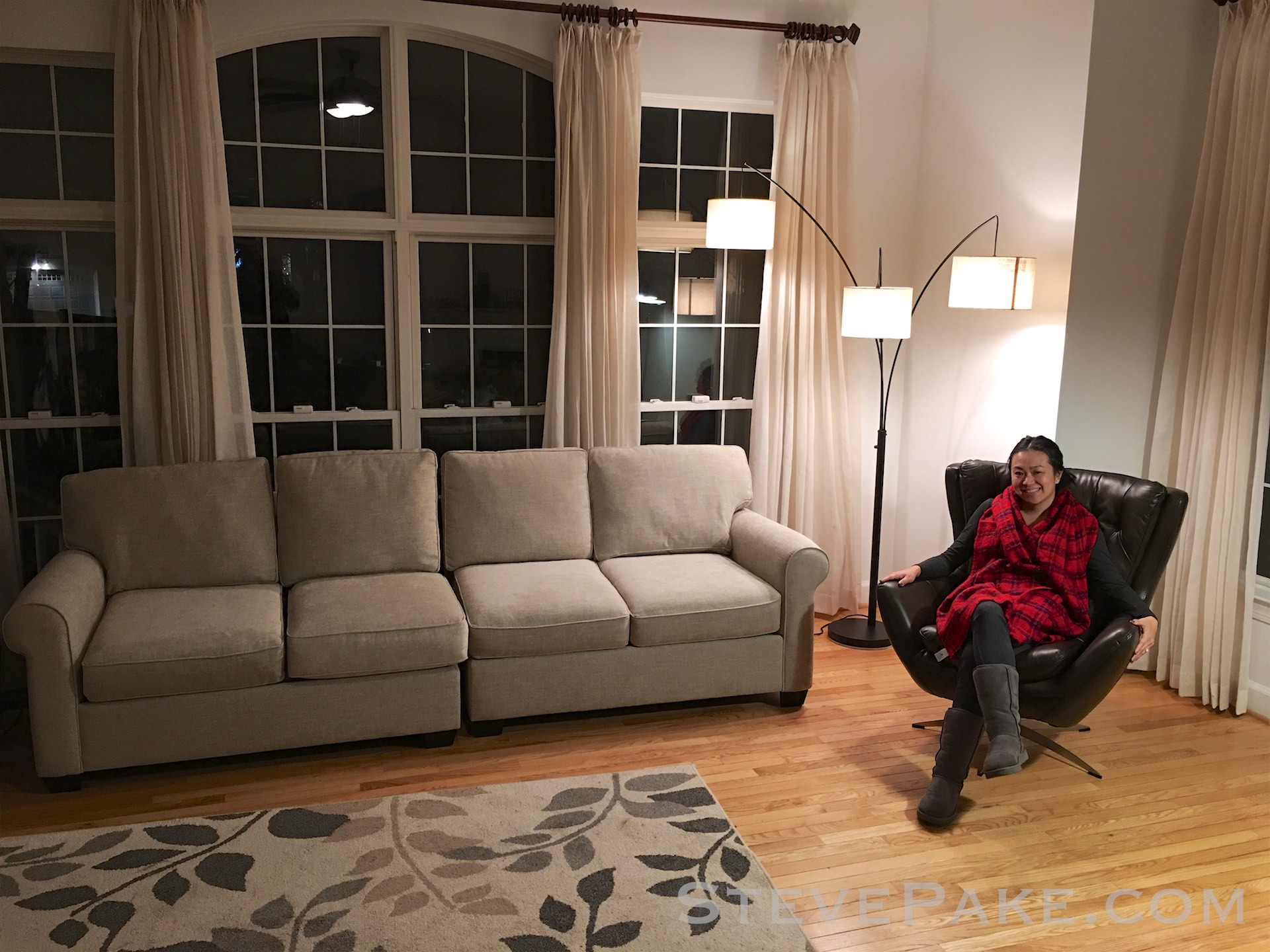 """Our new couch and leather chair, """"free"""" delivery courtesy of the Suburban. We managed to find another matching leather chair and an ottoman a few days after this, and also picked up a new bed frame. What delivery fee? :)"""