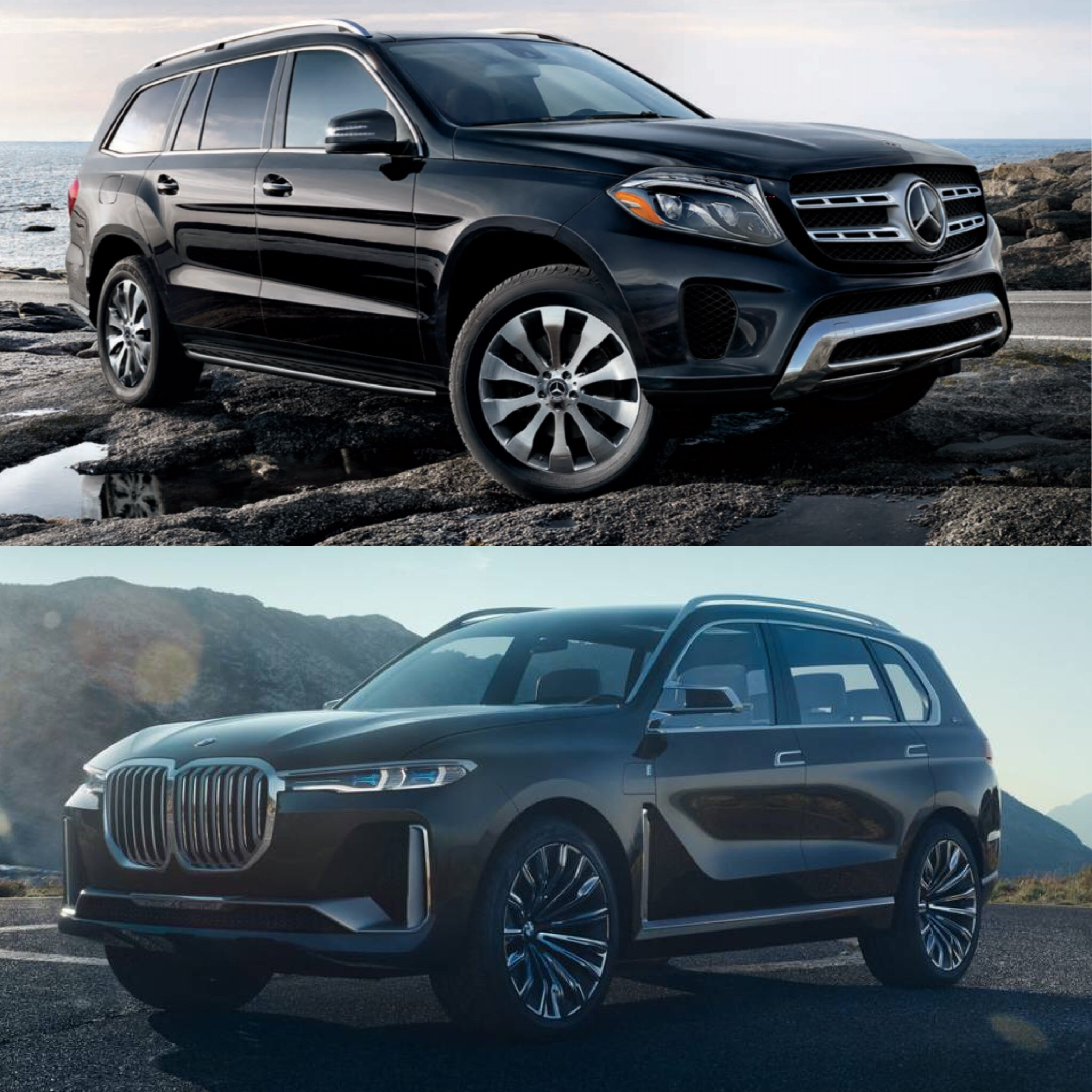 The Mercedes-Benz GLS (top) and the BMW X7 (bottom)