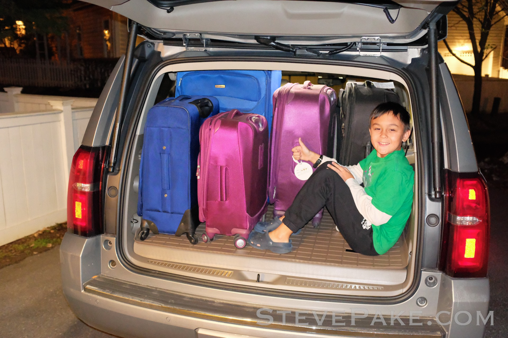 There's so much more cargo space in the Suburban that I could squeeze my son back there and STILL fit all of the extras. There's just no comparison. The Suburban has far superior cargo space despite the similar specs.