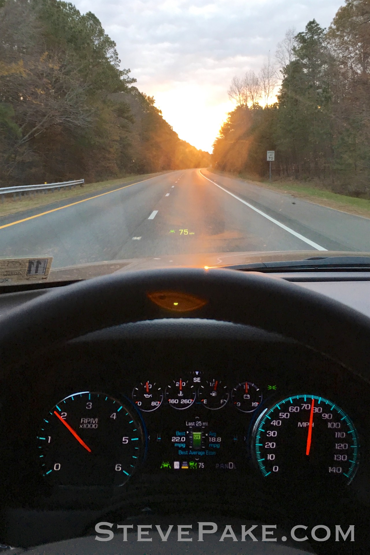 Cruise control set at 75 mph, near following distance (far is like a 1/4 mile away it seems like), and the HUD is sweet.