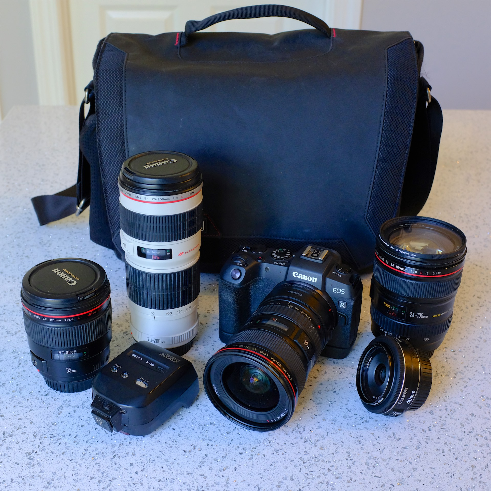 My full travel kit for Turks and Caicos with the addition of the 24-105L IS and 35L lenses, all packed into my larger ThinkTank Spectral 10 bag.
