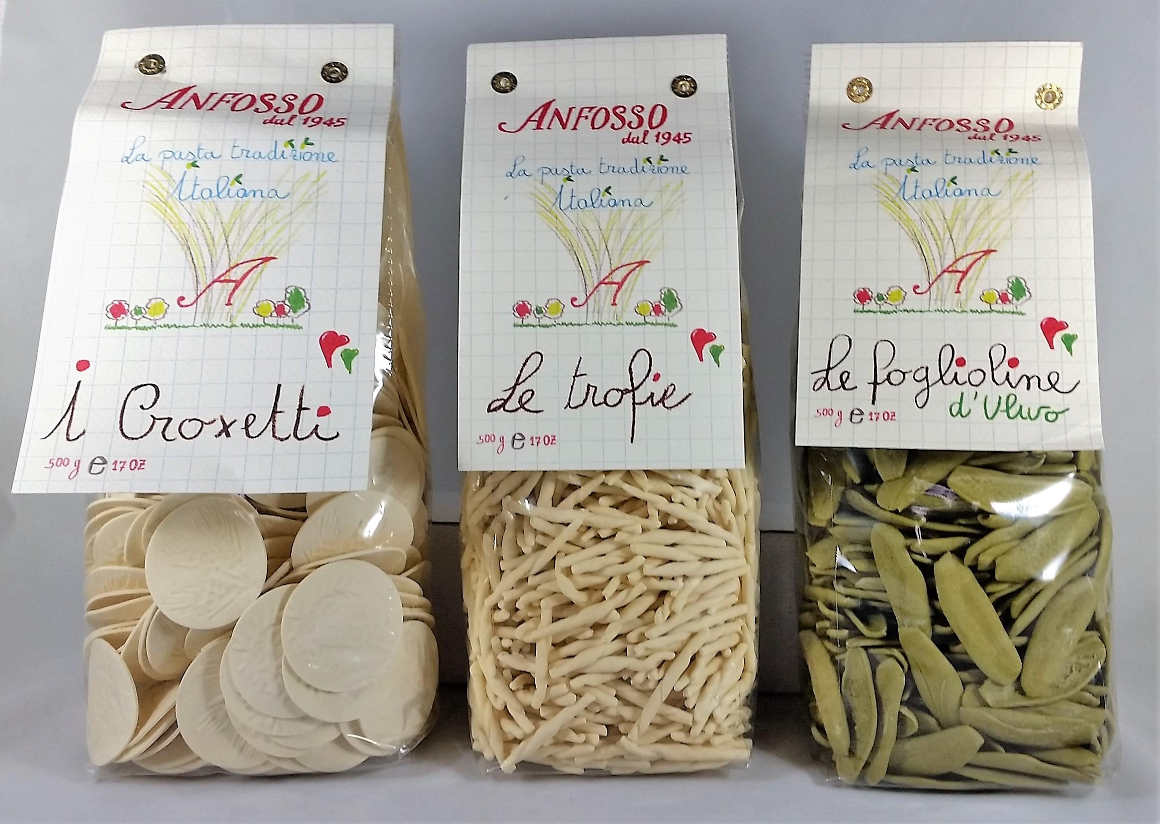 Croxetti pasta, Trofie pasta, Foglie d'ulivo pasta
