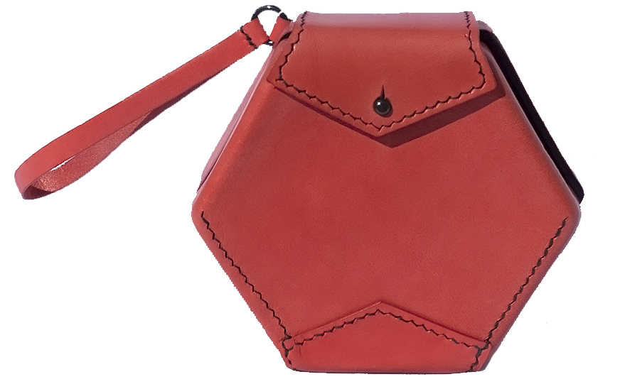 Coral Hexagon Bag in moulded leather by Katherine Pogson