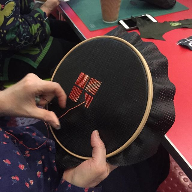 Just finished teaching a 'Dark Ages' Embroidery workshop at Reading Museum - inspired by the re-opening of the Abbey ruins, we explored #opusanglicanum techniques such as #splitstitch and underside #couching and their application to #leather #goldwork #embroidery #weekendcrafts