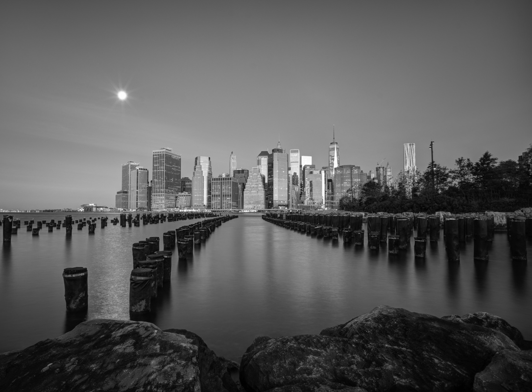 Full moon over downtown Manhattan