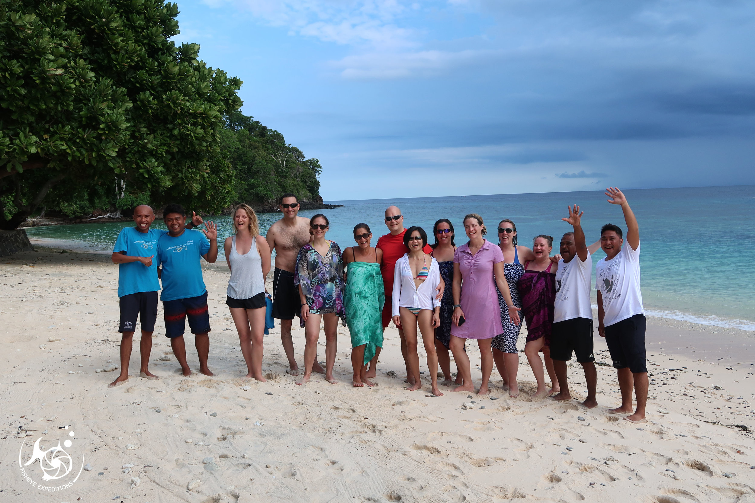 Our group enjoying an awesome full day trip to Bangka Island including 3 dives and lunch at Bangka Resort.