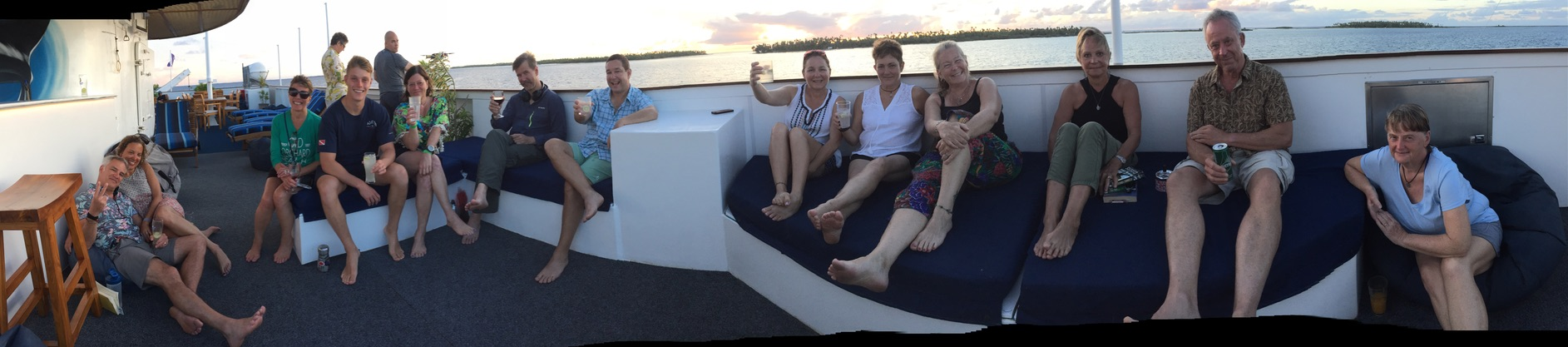 Daily top deck sunset happy hours kept everyone in a great mood!