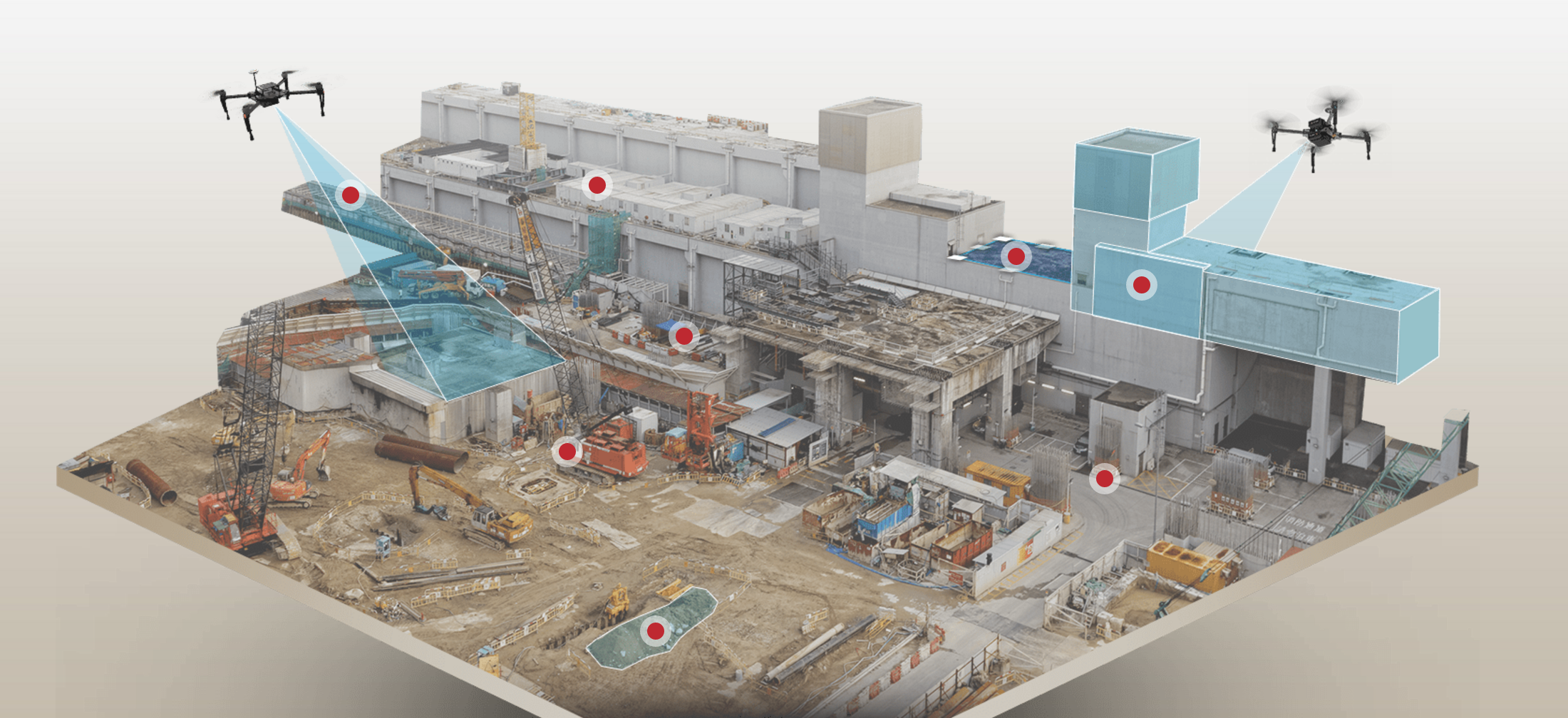 VizionAir's holistic, bird's eye view of construction sites allows firms to monitor job sites quickly, easily, and more efficiently with high resolution images and maps processed from drone data. With the ability to survey 300 acres in a single 45-minute flight, drones are now empowering construction site monitoring and asset management with seamless, on-demand business tools.