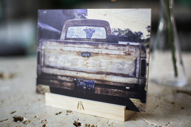 """Ford with Flowers     Hill Country, Texas, USA    5x7 printed directly on 1/8"""" birchwood, UV coating, stand included developed, printed and hand crafted in the USA"""