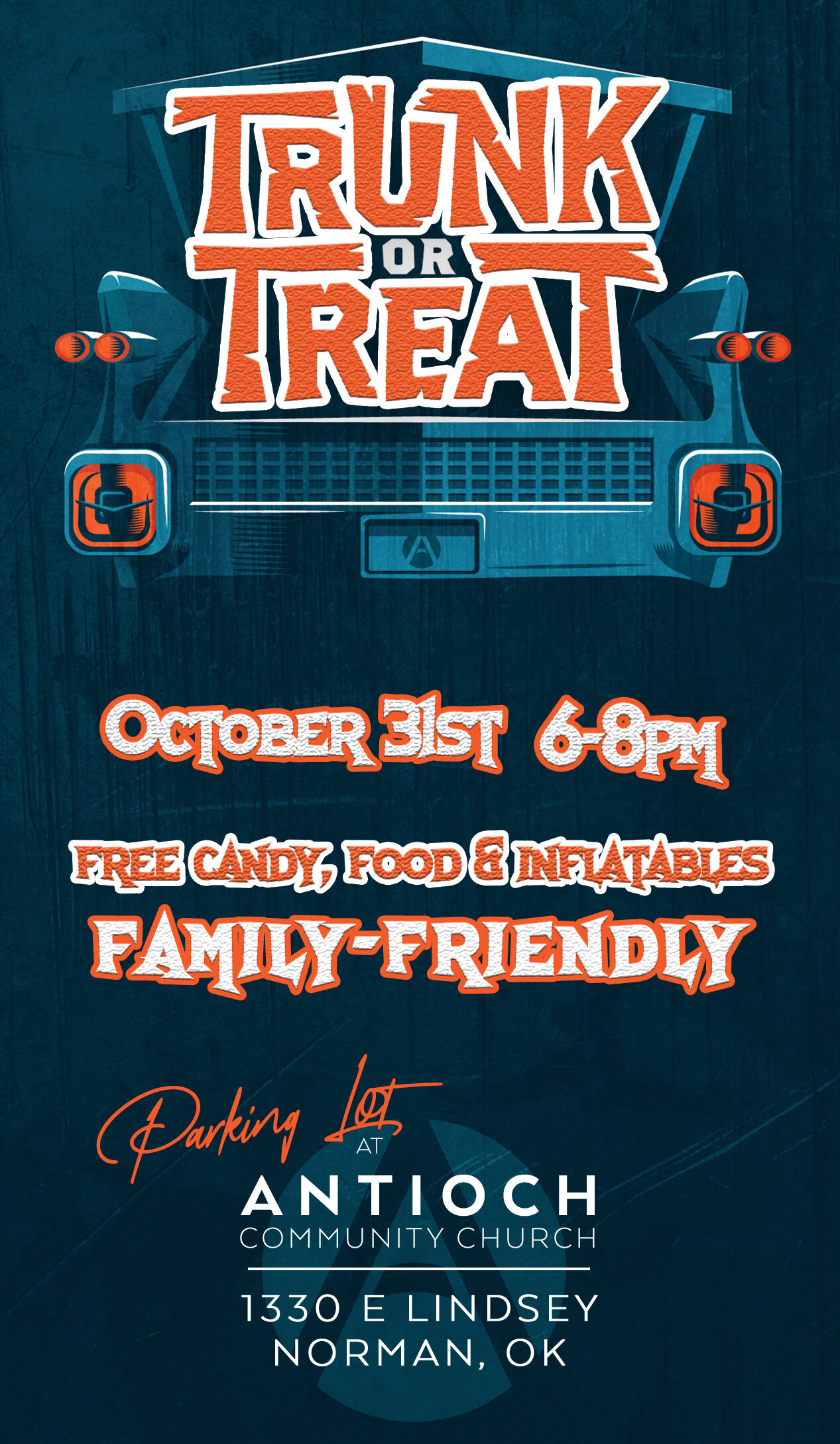 """Trunk or Treat is Antioch's fall party to invite people from the church and our neighborhood to come together for fun, food, inflatables, and lots of sugar highs!  We want to be a fun, inviting, relational presence in our community; to connect people with the love of God. Last year's response was astounding and we're believing this year will be even greater!   We are inviting you to join us in one or more of the following ways: 1. Donate candy or small prizes 2. Grab your family, friends, Lifegroup, business, etc and host a """"trunk"""" 3. ATTEND and bring your friends, family, neighbors, co-workers, etc! 4. Help us pass out flyers in the neighborhood   Additionally, whether you own or work for an organization in our community, we would love for your organization to get involved by sponsoring a trunk, donating food, or any other way they might be willing to help. To sign up to host a trunk, please click below."""