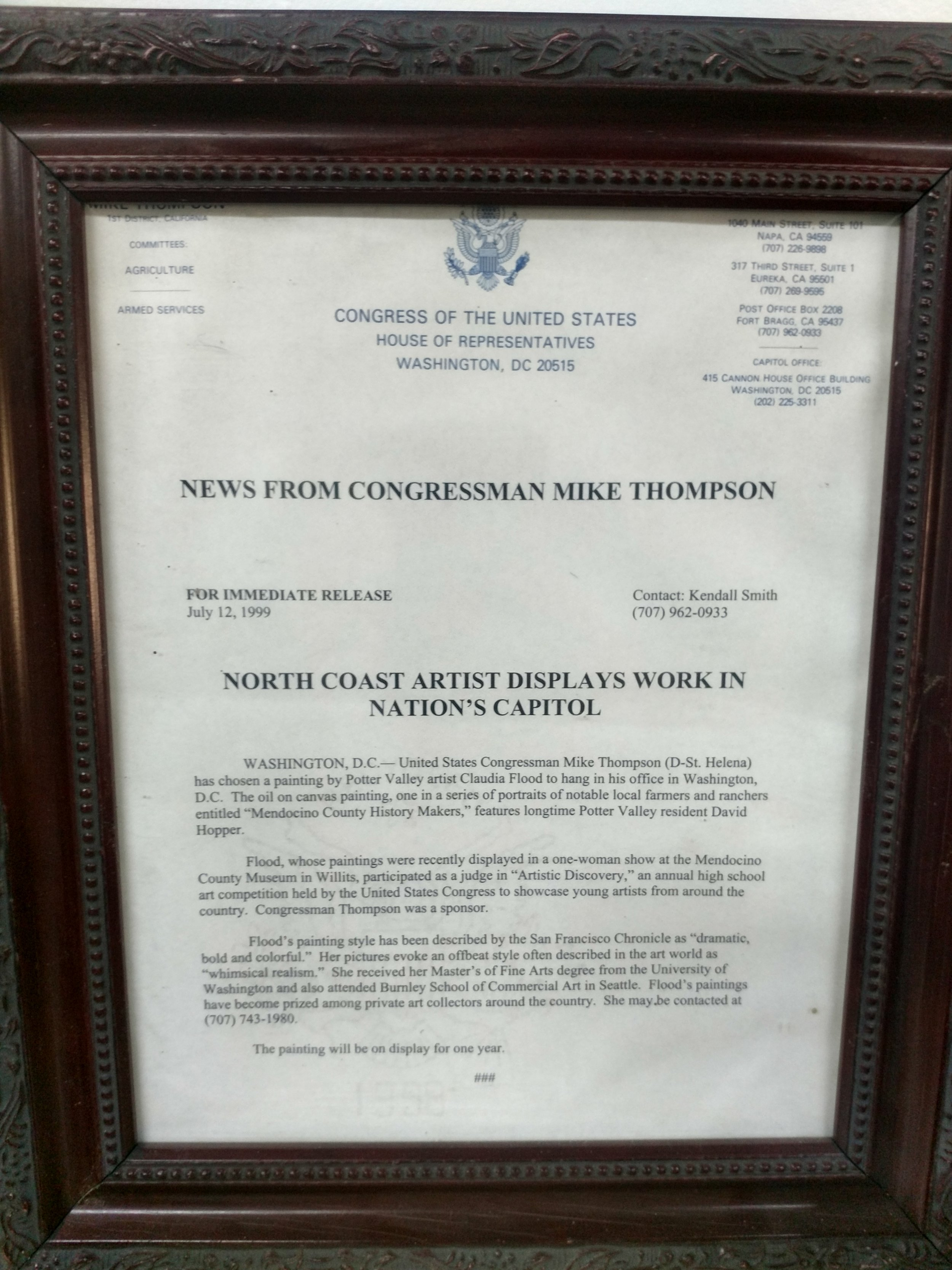 Artist Recognition, Office of Congressman Mike Thompson