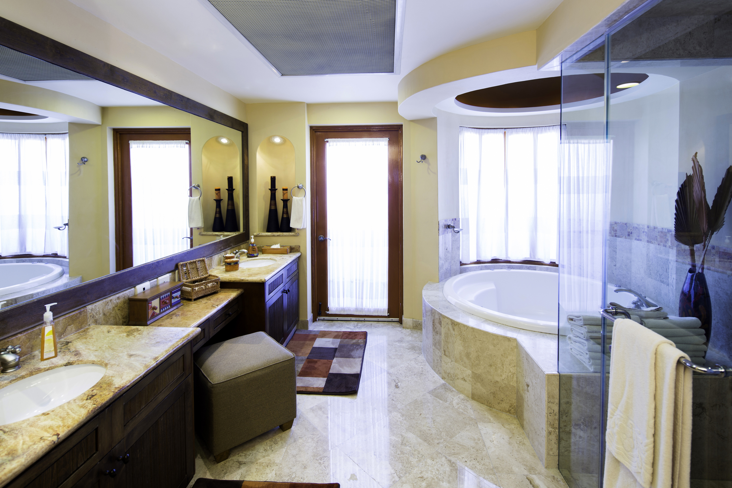 Master Bedroom Bath - Steam Shower, Tub and Door to Terrace